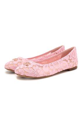 Детские балетки DOLCE & GABBANA розового цвета, арт. D10430/AJ652/37-39 | Фото 1