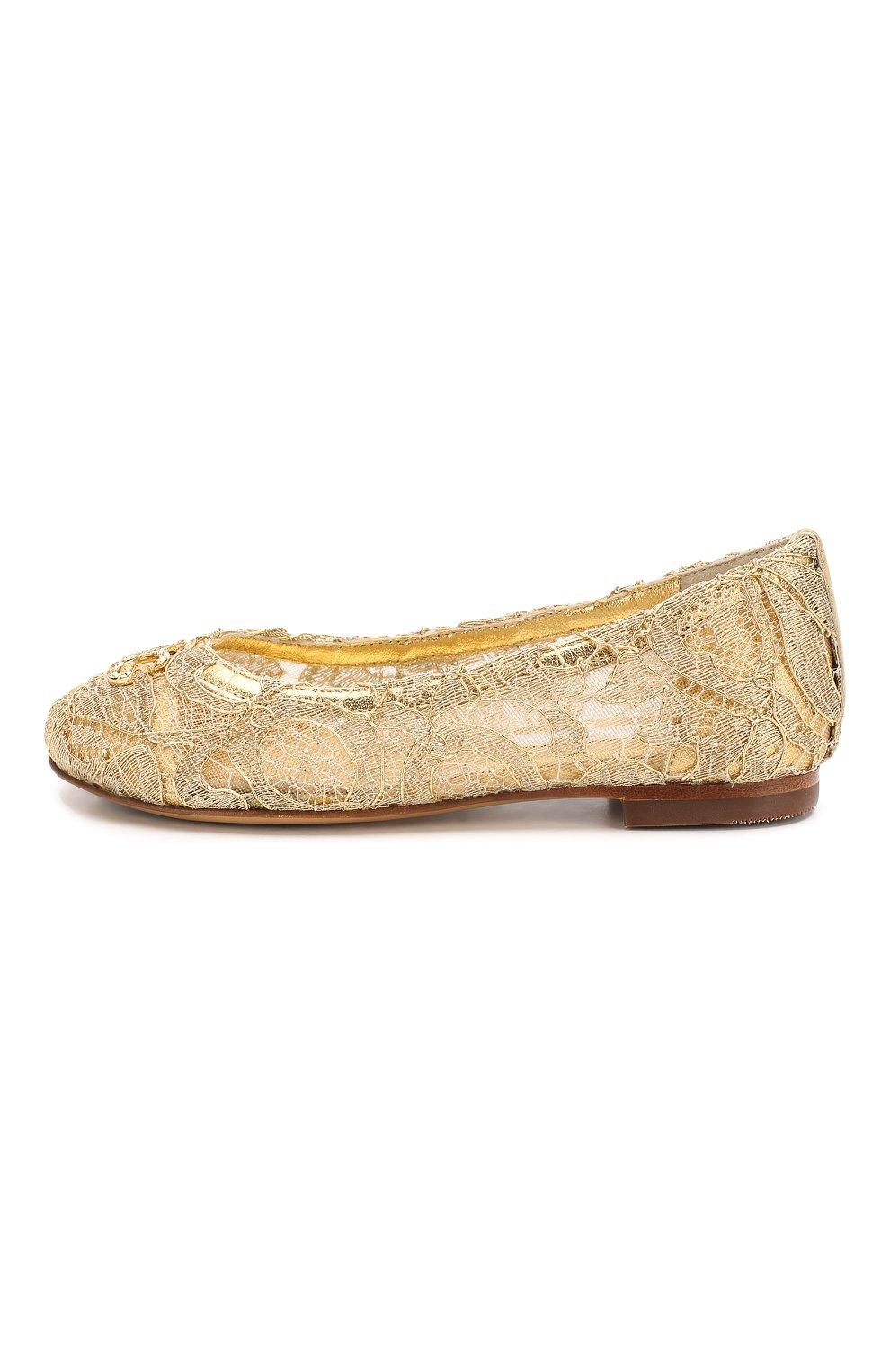 Детские балетки DOLCE & GABBANA золотого цвета, арт. D10430/AJ653/24-28 | Фото 2