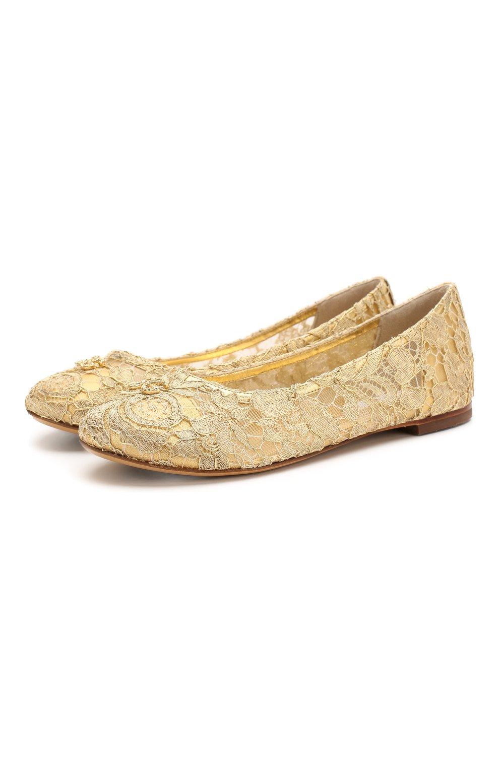 Детские балетки DOLCE & GABBANA золотого цвета, арт. D10430/AJ653/37-39 | Фото 1
