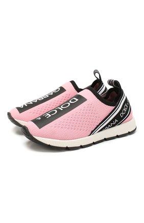 Детские кроссовки DOLCE & GABBANA розового цвета, арт. D10723/AH677/24-28 | Фото 1