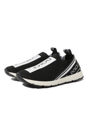 Детские кроссовки DOLCE & GABBANA черно-белого цвета, арт. D10723/AH677/24-28 | Фото 1