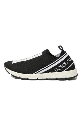 Детские кроссовки DOLCE & GABBANA черно-белого цвета, арт. D10723/AH677/24-28 | Фото 2