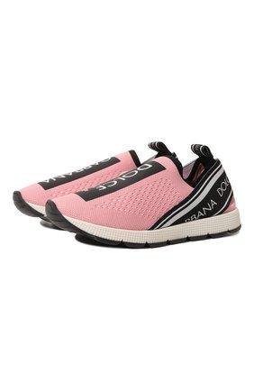 Детские кроссовки DOLCE & GABBANA розового цвета, арт. D10723/AH677/29-36 | Фото 1