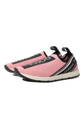Детские кроссовки DOLCE & GABBANA розового цвета, арт. D10723/AH677/37-39 | Фото 1