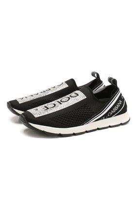 Детские кроссовки DOLCE & GABBANA черно-белого цвета, арт. D10723/AZ259/24-28 | Фото 1