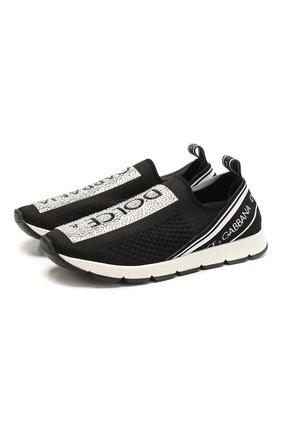Детские кроссовки DOLCE & GABBANA черно-белого цвета, арт. D10723/AZ259/37-39 | Фото 1