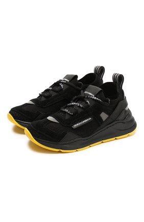 Детские кроссовки DOLCE & GABBANA черного цвета, арт. DA0904/AX036/24-28 | Фото 1