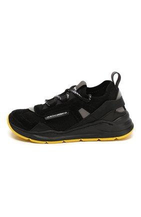 Детские кроссовки DOLCE & GABBANA черного цвета, арт. DA0904/AX036/24-28 | Фото 2