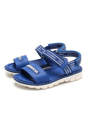 Детские кожаные сандалии DOLCE & GABBANA синего цвета, арт. DN0139/AX183/19-28 | Фото 1
