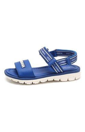 Детские кожаные сандалии DOLCE & GABBANA синего цвета, арт. DN0139/AX183/19-28   Фото 2
