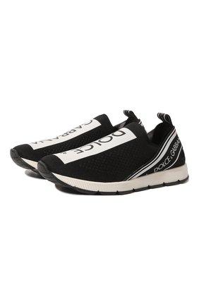 Детские кроссовки DOLCE & GABBANA черно-белого цвета, арт. D10723/AH677/37-39 | Фото 1