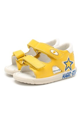 Детские кожаные сандалии FALCOTTO желтого цвета, арт. 0011500829/01   Фото 1