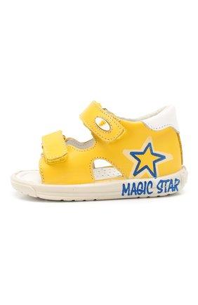 Детские кожаные сандалии FALCOTTO желтого цвета, арт. 0011500829/01   Фото 2