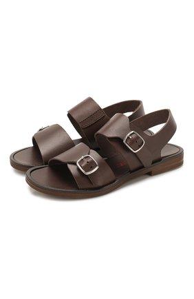 Детские кожаные сандалии JARRETT коричневого цвета, арт. JE1SA03A/FL0RIDA/28-34   Фото 1