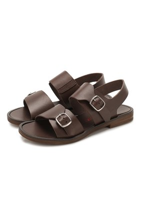 Детские кожаные сандалии JARRETT коричневого цвета, арт. JE2SA03A/FL0RIDA/24-27   Фото 1