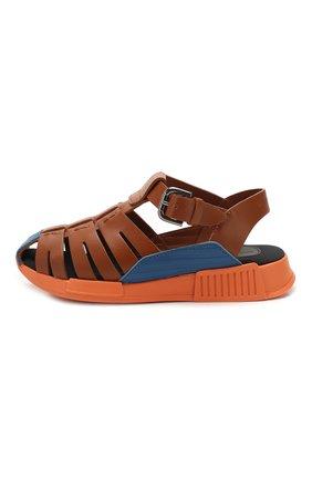 Детские кожаные сандалии DOLCE & GABBANA коричневого цвета, арт. DA0910/A1048/24-28   Фото 2