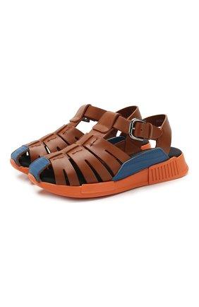 Детские кожаные сандалии DOLCE & GABBANA коричневого цвета, арт. DA0910/A1048/29-36   Фото 1