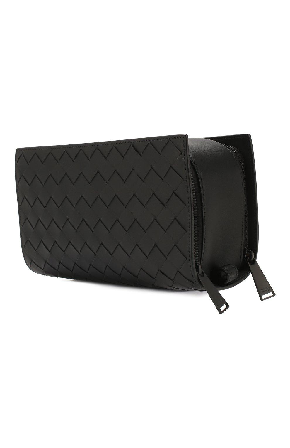Мужской кожаный несессер BOTTEGA VENETA черного цвета, арт. 598749/VCPQ1 | Фото 2 (Материал: Натуральная кожа)