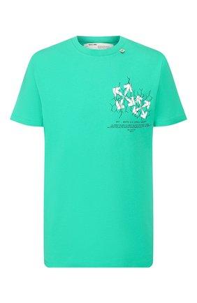 Мужская хлопковая футболка OFF-WHITE зеленого цвета, арт. 0MAA027S201850024401 | Фото 1