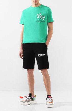 Мужская хлопковая футболка OFF-WHITE зеленого цвета, арт. 0MAA027S201850024401 | Фото 2