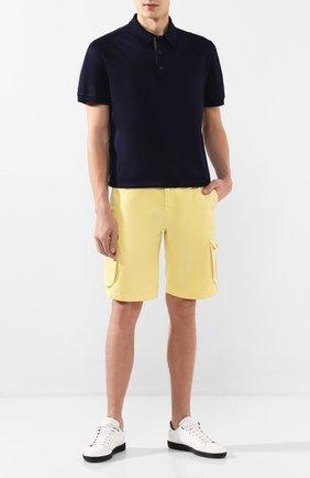 Мужские шорты из смеси льна и хлопка KITON желтого цвета, арт. UFPPBJ07S41 | Фото 2