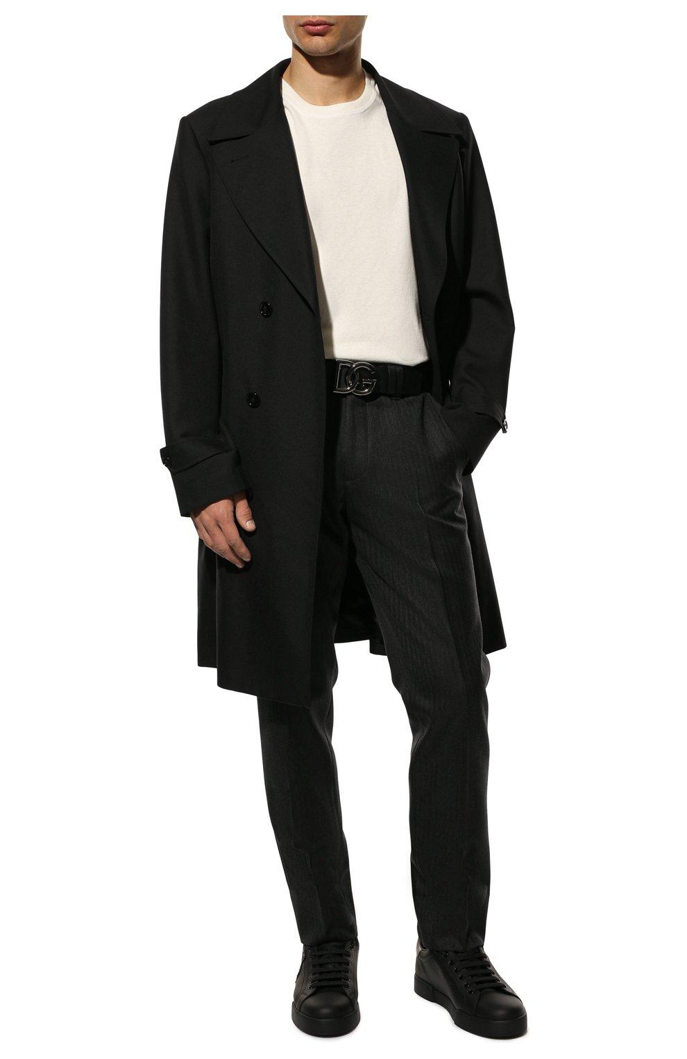 Мужские кожаные кеды portofino DOLCE & GABBANA черного цвета, арт. CS1761/AH164   Фото 2 (Материал внутренний: Натуральная кожа; Подошва: Плоская)