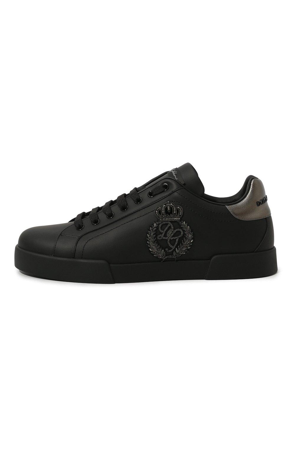 Мужские кожаные кеды portofino DOLCE & GABBANA черного цвета, арт. CS1761/AH164   Фото 4 (Материал внутренний: Натуральная кожа; Подошва: Плоская)
