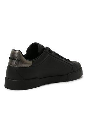 Мужские кожаные кеды portofino DOLCE & GABBANA черного цвета, арт. CS1761/AH164   Фото 5 (Материал внутренний: Натуральная кожа; Подошва: Плоская)