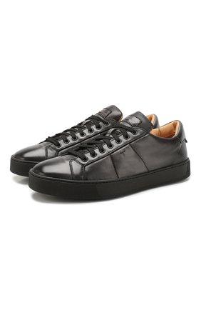 Мужские кожаные кеды SANTONI серого цвета, арт. MBGL20850NE0MG0TG62 | Фото 1
