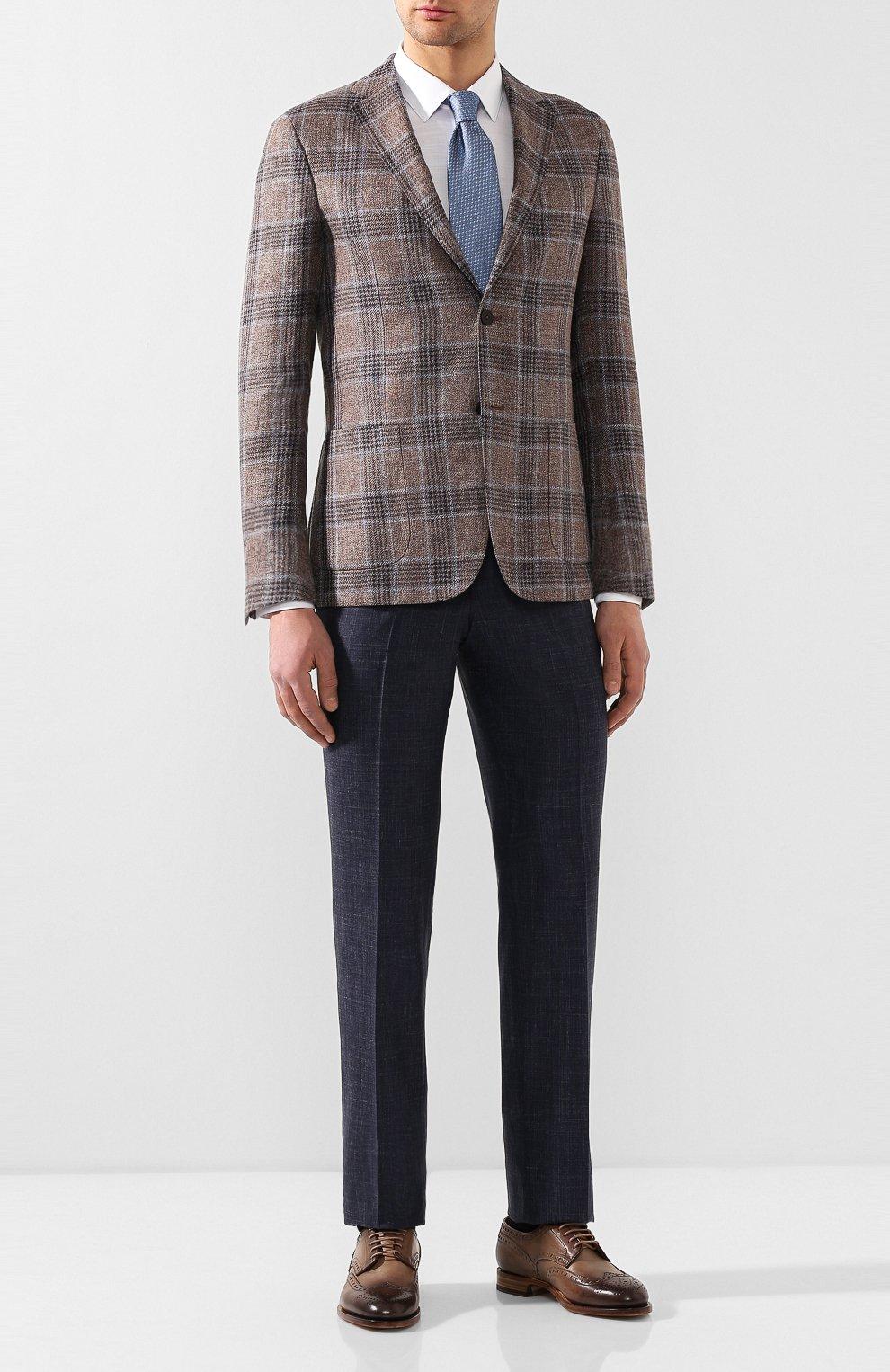 Мужские кожаные дерби SANTONI бежевого цвета, арт. MCC015761PC4NGTHE49   Фото 2