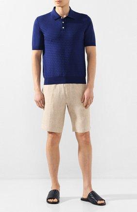 Мужские кожаные шлепанцы ZILLI темно-синего цвета, арт. MDT-F013/001 | Фото 2