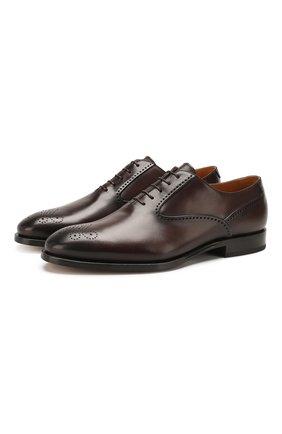 Мужские кожаные оксфорды W.GIBBS темно-коричневого цвета, арт. 7255007/2102 | Фото 1