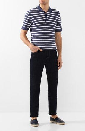 Мужские кожаные эспадрильи CASTANER темно-синего цвета, арт. 021921 | Фото 2