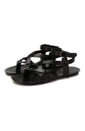 Мужские кожаные сандалии SAINT LAURENT черного цвета, арт. 601774/DWE00 | Фото 1