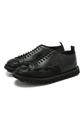 Мужские кожаные ботинки MARSELL черного цвета, арт. MMG500/BIMATERIALE PELLE R0V + VIT | Фото 1