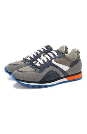 Мужские комбинированные кроссовки BARRETT серого цвета, арт. CRAIG-08.2/VEIL | Фото 1 (Материал внутренний: Натуральная кожа; Подошва: Массивная)