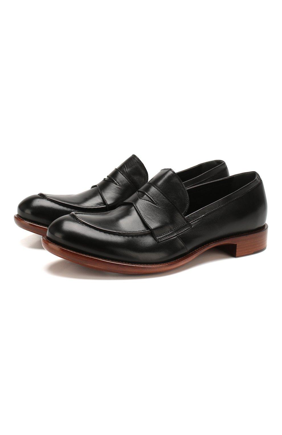 Мужские кожаные пенни-лоферы ROCCO P. черного цвета, арт. 10014/TRIP0N | Фото 1