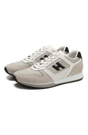 Мужские комбинированные кроссовки HOGAN бежевого цвета, арт. HXM3210Y851N8L | Фото 1