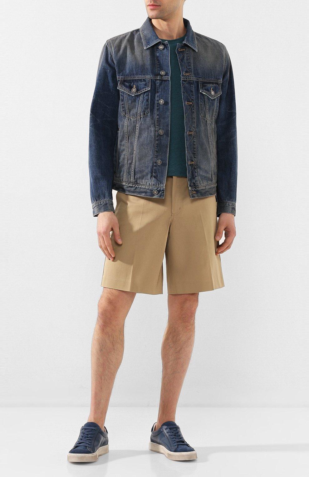 Мужские кожаные кеды ANDREA CAMPAGNA синего цвета, арт. 515034.99.152 | Фото 2