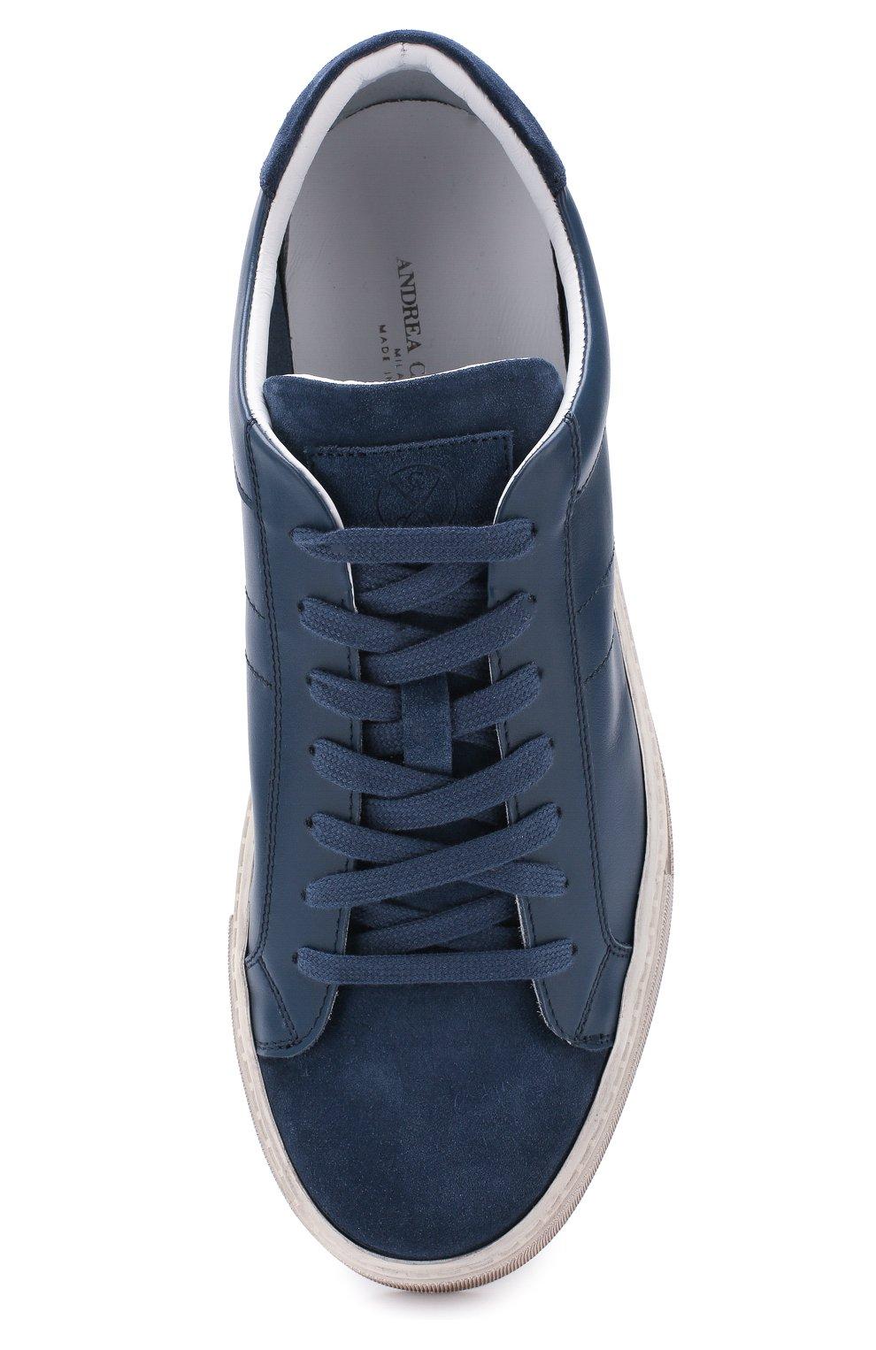 Мужские кожаные кеды ANDREA CAMPAGNA синего цвета, арт. 515034.99.152 | Фото 5