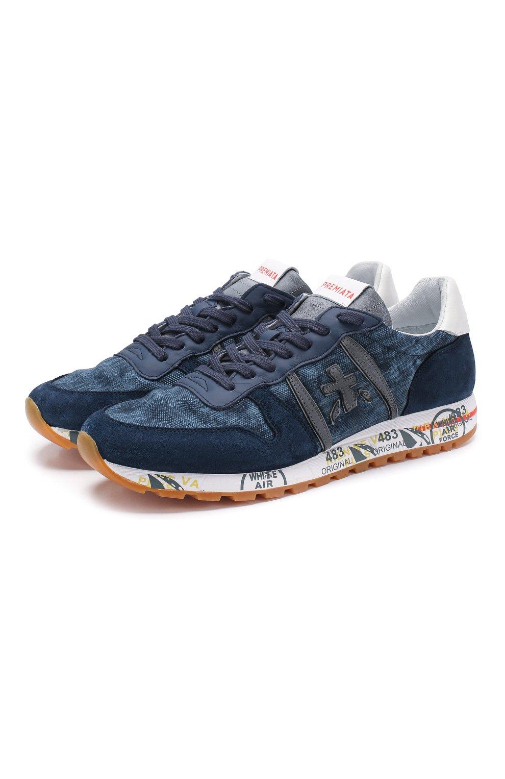 Мужские комбинированные кроссовки eric PREMIATA синего цвета, арт. ERIC/VAR4668   Фото 1