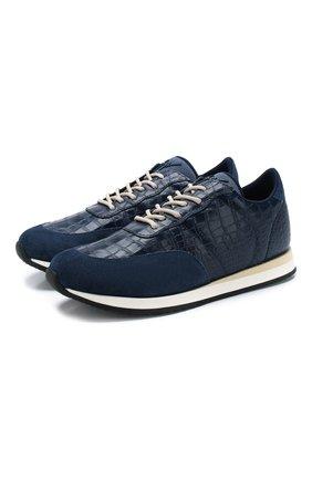 Мужские кожаные кроссовки jimi running GIUSEPPE ZANOTTI DESIGN синего цвета, арт. EU00055/012 | Фото 1