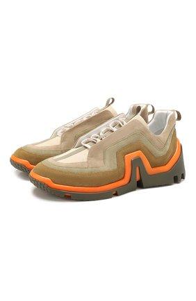 Мужские замшевые кроссовки PIERRE HARDY хаки цвета, арт. RX01/SUEDE CALF | Фото 1