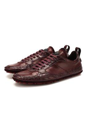 Мужские кроссовки из кожи крокодила DOLCE & GABBANA бордового цвета, арт. A20118/A2U72/CNIL | Фото 1