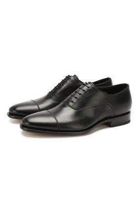 Мужские кожаные оксфорды SANTONI черного цвета, арт. MCBN17158PC2NUTAN01 | Фото 1