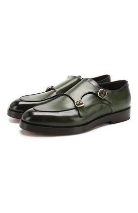 Мужские кожаные монки SANTONI зеленого цвета, арт. MCC016036BQ1MVVDV54 | Фото 1