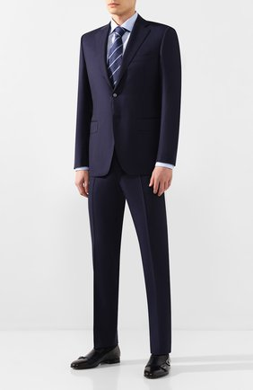 Мужские кожаные лоферы SANTONI темно-синего цвета, арт. MCNC13907LA3ECYCU35 | Фото 2 (Материал внутренний: Натуральная кожа; Стили: Классический)