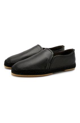 Мужские кожаные эспадрильи SERGIO ROSSI черного цвета, арт. A89650-MMVR18 | Фото 1