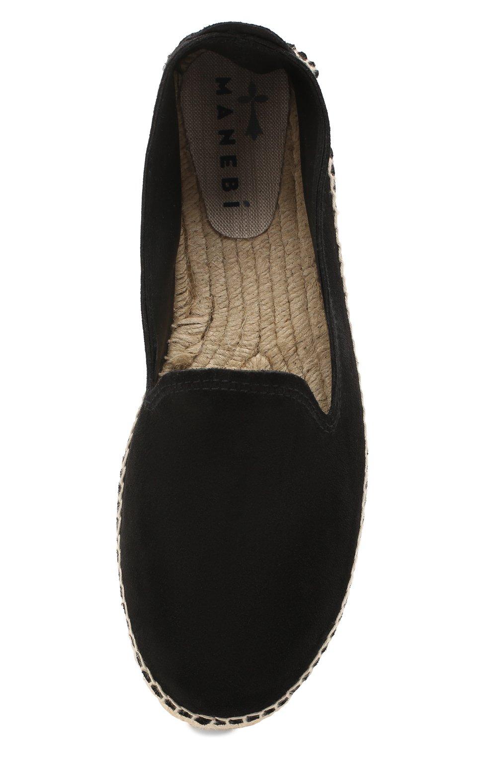 Мужские замшевые эспадрильи MANEBI черного цвета, арт. K1.0C0 | Фото 5 (Материал внутренний: Натуральная кожа, Текстиль; Материал внешний: Замша)