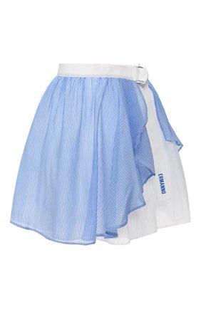 Женская юбка из смеси хлопка и шелка ERMANNO ERMANNO SCERVINO голубого цвета, арт. 46T GN18 RIG   Фото 1